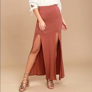 COME ON OVER RUST RED MAXI SKIRT